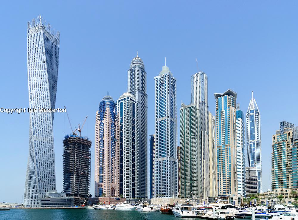 Skyline of skyscrapers in Marina district of Dubai United Arab Emirates