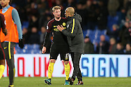 Pep Guardiola, the Manchester City manager hugs Kevin De Bruyne of Manchester City after the final whistle.Premier League match, Crystal Palace v Manchester city at Selhurst Park in London on Saturday 19th November 2016. pic by John Patrick Fletcher, Andrew Orchard sports photography.