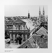 Historic photograph of old town Zagreb in Lotrščak Tower, Gradec, Zagreb, Croatia