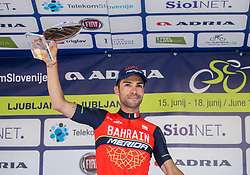 Best in overall classification: Second placed Giovanni Visconti (ITA) of Bahrain-Merida celebrates at trophy ceremony after the last Stage 4 of 24th Tour of Slovenia 2017 / Tour de Slovenie from Rogaska Slatina to Novo mesto (158,2 km) cycling race on June 18, 2017 in Slovenia. Photo by Vid Ponikvar / Sportida