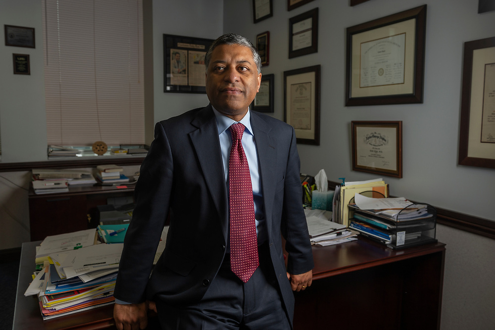 Dr. Rahul Gupta, state health officer and commissioner for the West Virginia Department of Health and Human Resources Bureau, poses for a portrait in his office in downtown Charleston, W.V., on Monday, April 16, 2018.