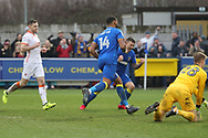 AFC Wimbledon midfielder Liam Trotter (14) celebrating after scoring goal to make it 1-0 during the EFL Sky Bet League 1 match between AFC Wimbledon and Blackpool at the Cherry Red Records Stadium, Kingston, England on 20 January 2018. Photo by Matthew Redman.