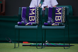 LONDON, ENGLAND - Saturday, July 6, 2019: Wimbledon towels laid out on chairs for the players before the Gentlemen's Doubles second round match on Day Six of The Championships Wimbledon 2019 at the All England Lawn Tennis and Croquet Club. (Pic by Kirsten Holst/Propaganda)
