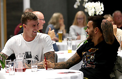 Aden Flint and Marlon Pack of Bristol City smile while taking part in the Community Trust Quiz - Mandatory by-line: Robbie Stephenson/JMP - 19/09/2016 - FOOTBALL - Ashton Gate - Bristol, England - Bristol City Community Trust Quiz