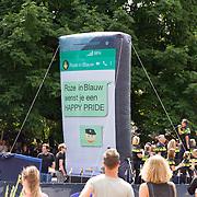NLD/Amsterdam//20170805 - Gay Pride 2017, Boot Roze in Blauw Nederland - Politieboot