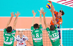 Jayson Jablonsky of ACH during volleyball match between ACH Volley Ljubljana and Bre Banca Lannutti Cuneo (ITA) in Playoff 12 game of CEV Champions League 2012/13 on January 15, 2013 in Arena Stozice, Ljubljana, Slovenia. (Photo By Vid Ponikvar / Sportida.com)