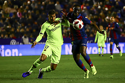 January 10, 2019 - Valencia, Spain - Jeison Murillo of FC Barcelona (L) in action against Levante's forward Emmanuel Boateng  during  spanish King Cup  match between Levante UD v FC Barcelona  at Ciutat de Valencia  Stadium on January  10, 2018. (Photo by Jose Miguel Fernandez/NurPhoto) (Credit Image: © Jose Miguel Fernandez/NurPhoto via ZUMA Press)
