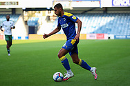 AFC Wimbledon defender Nesta Guinness-Walker (18) dribbling into box and setting up AFC Wimbledon attacker Shane McLoughlin (19) to score GOAL during the EFL Sky Bet League 1 match between AFC Wimbledon and Plymouth Argyle at the Kiyan Prince Foundation Stadium, London, England on 19 September 2020.