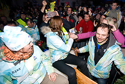 Andreja Mali, Slovenian bronze medalist cross-country skier Petra Majdic and Ivan Hudac at reception at her home town Dol pri Ljubljani after she came from Vancouver after Winter Olympic games 2010, on March 1, 2010 in Dol pri Ljubljani, Slovenia. (Photo by Vid Ponikvar / Sportida)