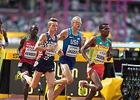 Athletics - 2017 IAAF London World Athletics Championships - Day Three, Morning Session<br /> <br /> 3000m Steeplechase Men - Round 1 (Heat 2)<br />  <br /> Evan Jager (United States) follows Tafese Seboka (Ethiopia) at the London Stadium<br /> <br /> COLORSPORT/DANIEL BEARHAM