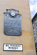 Bank of Scotland chief office sign with logo, part of Lloyds Banking Group, in St Vincent Street, City Centre, Glasgow, Scotland, UK