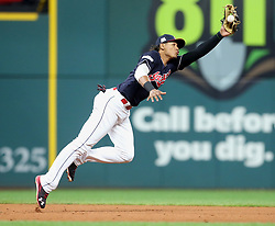October 6, 2017 - Cleveland, Ohio, U.S. - Cleveland Indians third baseman ERIK GONZALEZ snags a line drive by the New York Yankees' Greg Bird in the eighth inning during Game 2 of the American League Division Series, Friday, at Progressive Field. (Credit Image: © Phil Masturzo/TNS via ZUMA Wire)