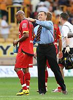 Photo: Paul Greenwood. <br />Wolverhampton Wanderers v Watford. Coca Cola Championship. 11/08/2007. <br />Watford manager Ady Boothroyd (R) celebrates victory with Jordan Stewart