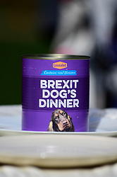 """© Licensed to London News Pictures. 10/03/2019. LONDON, UK. A can of dog food for Pro-Remain owners bringing their dogs to Victoria Park Gardens, next to the Houses of Parliament, for """"Brexit is a Dog's Dinner"""", a protest to urge MPs to vote to ensure that a no-deal Brexit is avoided and to give the people of the UK a final say.  Next week, there will be a series of up to three votes in the House of Commons where MPs will vote on whether to accept Theresa May's Brexit deal.  Photo credit: Stephen Chung/LNP"""