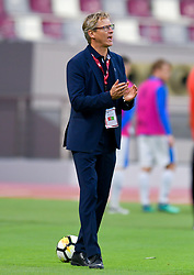 Finland's head coach Markku Kanerva reacts during the international friendly soccer match between Finland and Estonia at Khalifa International Stadium in Doha, capital of Qatar, Jan. 11, 2019. Estonia won 2-1. (Credit Image: © Nikku/Xinhua via ZUMA Wire)