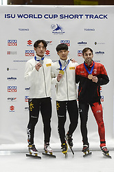 February 9, 2019 - Torino, Italia - Foto LaPresse/Nicolò Campo .9/02/2019 Torino (Italia) .Sport.ISU World Cup Short Track Torino - Men 1500 meters Final A .Nella foto: Kyung Hwan Hong, Gun Woo Kim, Steven Dubois..Photo LaPresse/Nicolò Campo .February 9, 2019 Turin (Italy) .Sport.ISU World Cup Short Track Turin - Men 1500 meters Final A.In the picture: Kyung Hwan Hong, Gun Woo Kim, Steven Dubois (Credit Image: © Nicolò Campo/Lapresse via ZUMA Press)