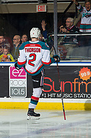 KELOWNA, BC - MARCH 03: Lassi Thomson #2 of the Kelowna Rockets celebrates a goal with fans against the Portland Winterhawks  at Prospera Place on March 3, 2019 in Kelowna, Canada. (Photo by Marissa Baecker/Getty Images)