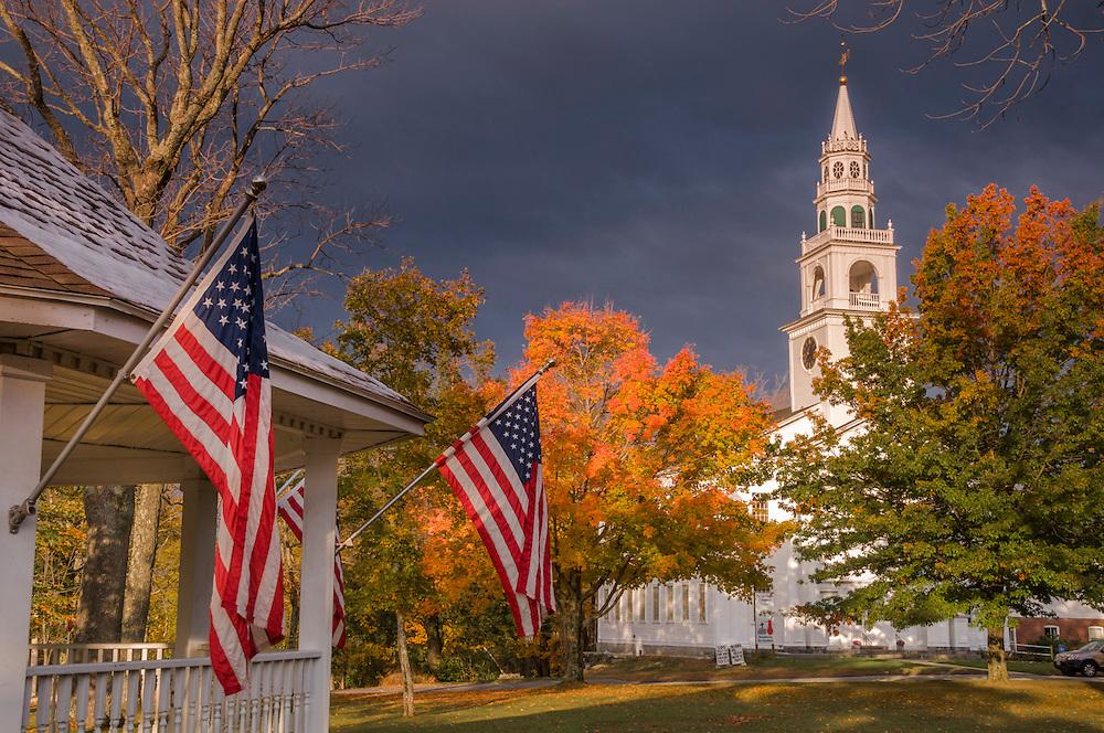 American flags on gazebo, church & fall foliage, Templeton, MA