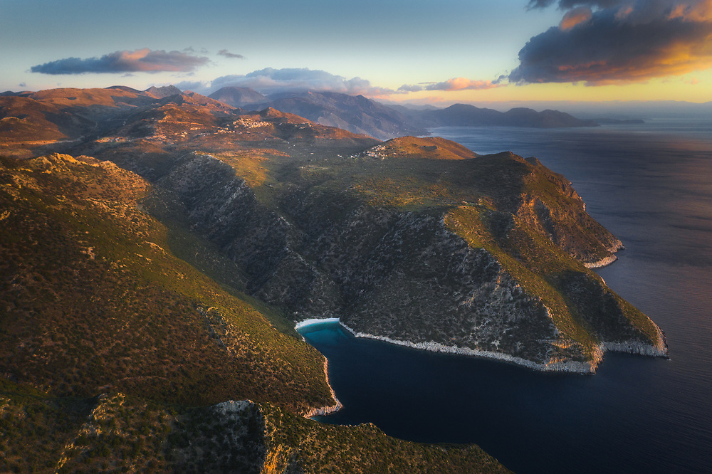 Aerial view of Akrogiali and Lagia at Mani peninsula, Greece