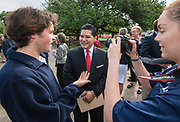 Houston ISD Superintendent Richard Carranza talks with students during a groundbreaking ceremony at Lamar High School, March 30, 2017.