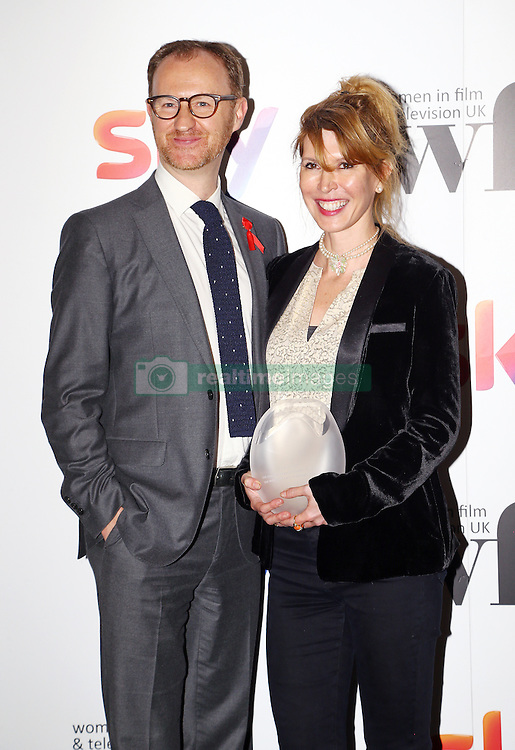 Mark Gatiss presented Julia Davis with the creative skillset writing award at the Women in Film & TV Awards at the Hilton hotel in central London.