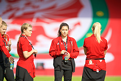 NEWPORT, WALES - Tuesday, June 12, 2018: Wales' Kylie Nolan and Ffion Morgan on the pitch before the FIFA Women's World Cup 2019 Qualifying Round Group 1 match between Wales and Russia at Newport Stadium. (Pic by David Rawcliffe/Propaganda)