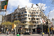 Gaudi-designed apartment building, La Pedrera, in Barcelona, Spain.