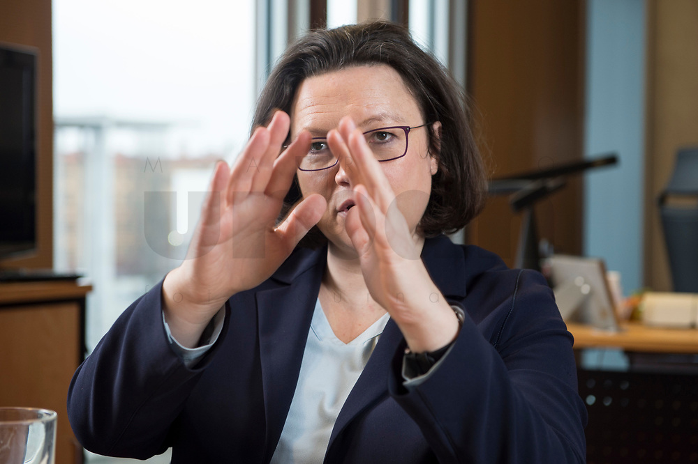 15 MAR 2018, BERLIN/GERMANY:<br /> Andrea Nahles, SPD Fraktionsvorsitzende, waehrend einem Interview, in ihrem Buero, Jakob-Kaiser-Haus, Deutscher Bundestag<br /> IMAGE: 20180315-01-003<br /> KEYWORDS: Büro