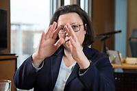15 MAR 2018, BERLIN/GERMANY:<br /> Andrea Nahles, SPD Fraktionsvorsitzende, waehrend einem Interview, in ihrem Buero, Jakob-Kaiser-Haus, Deutscher Bundestag<br /> IMAGE: 20180315-01-003<br /> KEYWORDS: Büro