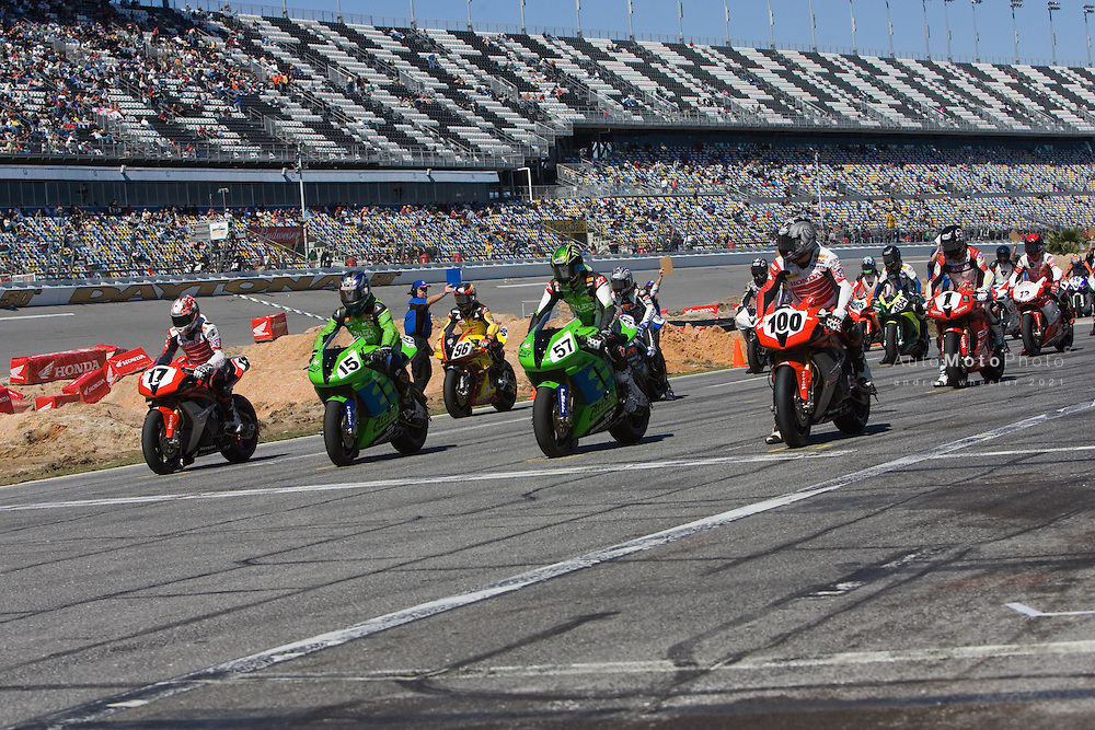 Round 1 of the 2008 AMA Superbike Championship at Daytona International Speedway, Daytona Beach, Florida, March 5-8, 2008.<br /> <br /> :: Images shown are not post processed ::Contact me for the full size file and required file format (tif/jpeg/psd etc) <br /> <br /> :: For anything other than editorial usage, releases are the responsibility of the end user and documentation/proof will be required prior to file delivery.