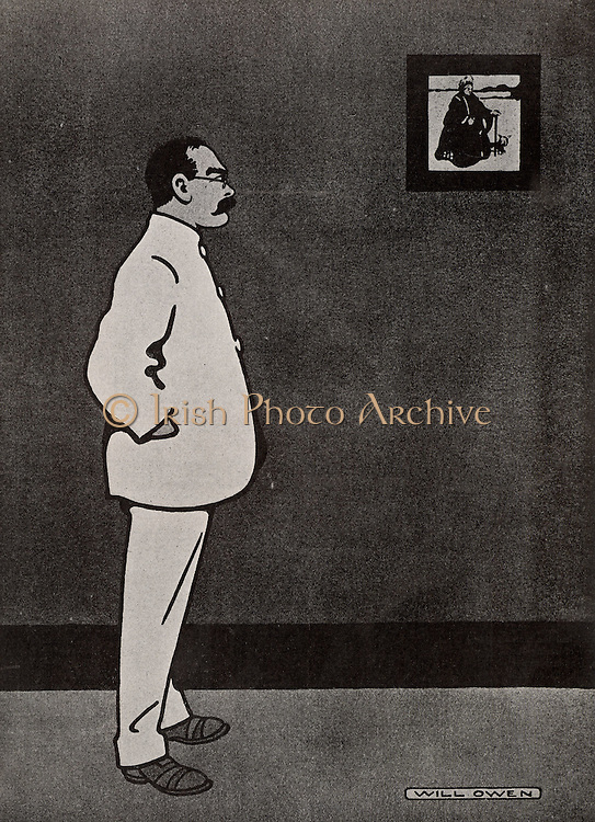 Rudyard Kipling (1865-1936) English journalist, novelist and poet born in India. Awarded the Nobel Prize for Literature in 1907.  Cartoon by Will Owen (1869-1857) showing Kipling looking at a print of Queen Victoria by William Nicholson.  From 'The Tatler' (London, 15 October 1902).