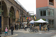 The enterence to Maltby Street Market on 17th October 2015 in London, United Kingdom. Opening in 2010, Maltby Street is an artisan food market under the railways arches in Bermondsey, London.