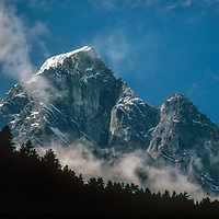 Satellite summits of Mount Kwangde overlooks the Dudh Kosi gorge in the Khumbu Region of Nepal.