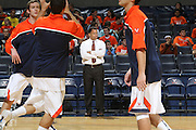 Dec. 17, 2010; Charlottesville, VA, USA; The Virginia Cavaliers assistant head coach Ritchie McKay watches his team practice before the start of the game against the Oregon Ducks at the John Paul Jones Arena. Mandatory Credit: Andrew Shurtleff