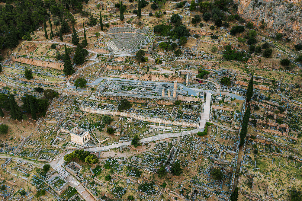 Ruins of the ancient Greek town of Delphi, Greece
