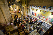 Interior of the Church of the Holy Sepulchre in Old City Jerusalem, Israel.