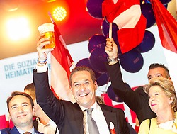 11.10.2015, FPÖ Festzelt, Wien, AUT, Wien-Wahl 2015, im Bild v.l.n.r. Manfred Haimbuchner, FPÖ Spitzenkandidat Heinz-Christian Strache und Ursula Stenzel // during elcetion to the vienna city council at FPOe tent in Vienna, Austria on 2015/10/11, EXPA Pictures © 2015, PhotoCredit: EXPA/ Michael Gruber