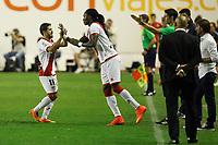 Rayo Vallecano´s Jonathan Pereira and Manucho during 2014-15 La Liga match at Vallecas stadium. August 25, 2014. (ALTERPHOTOS/Victor Blanco)