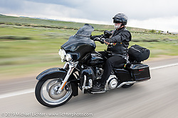 Mike McCormick of Loveland, CO on his 2013 black Street Glide riding from Thunder Mountain Harley-Davidson in Loveland, Colorado to the Rocky Mountain HOG Rally in Steamboat Springs. USA. Wednesday June 7, 2017. Photography ©2017 Michael Lichter.