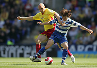 Photo: Lee Earle.<br /> Reading v Watford. The Barclays Premiership. 05/05/2007.Watford's Gavin Mahon (L) battles with Reading's Stephen Hunt.