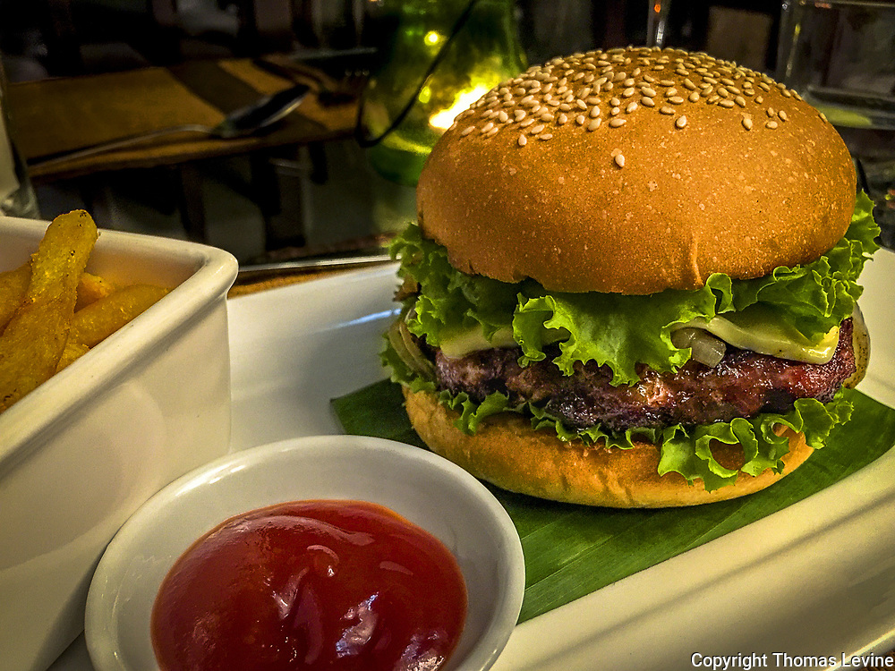 Big Burger with lettuce and pickle on a browned bun served on a platter with french fries chips and tomato ketchup. iPhone
