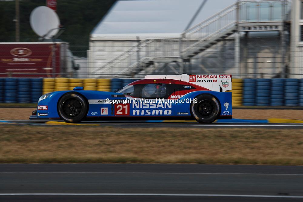 #21 Nissan GT-R LM NISMO, Nissan Motorsport  driven by Tsugio Matsuda, Mark Shulzhitskiy, Lucas Ordenez, FP1, Le Mans 24H 2015