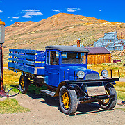 Old Dodge pickup and gas pumps at Bodie, CA.