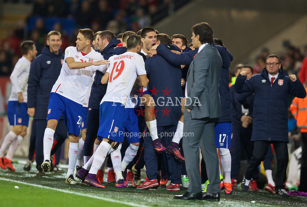 CARDIFF, WALES - Saturday, November 12, 2016: Serbia's Aleksandar Mitrović celebrates scoring the first equalising goal against Wales during the 2018 FIFA World Cup Qualifying Group D match at the Cardiff City Stadium. (Pic by David Rawcliffe/Propaganda)