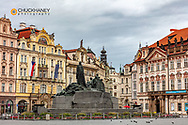 Jan Hus Monument in Old Town Square in Prague, Czech Republic