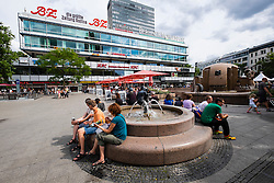 Fountain in square beside Europa Center in Charlottenurg Berlin Germany