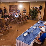 Press conferences on this tour are a bit less demanding than professional tours. American Junior Golf Association players Jordan Spieth and Grayson Murray speak at a press conference at the Thunderbird International Junior tournament.  AJGA's Chris Richards leads the conference.