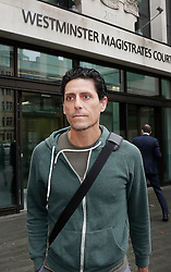 © Licensed to London News Pictures. 22/09/2016. London, UK. C J De Mooi, real name Joseph Connagh, is released on bail from Westminster Magistrates Court in London where he faces extradition to Holland. Former panellist on the BBC quiz show Eggheads, who admitted in his autobiography to possibly killing someone while in Holland, was arrested on a European arrest warrant at Heathrow airport. Photo credit: Peter Macdiarmid/LNP