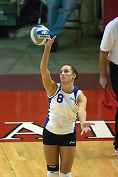 12 November 2006: Laura Rowan serves..In the final regular season home game at ISU, the Northern Iowa Panthers defeated the Illinois State Redbirds 3 game to 1. The match took place at Redbird Arena on the campus of Illinois State University in Normal Illinois.<br />