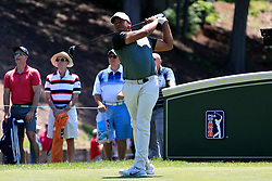 June 21, 2018 - Cromwell, CT, U.S. - CROMWELL, CT - JUNE 21: Jhonattan Vegas of Venezuela drives from the 18th tee during the First Round of the Travelers Championship on June 21, 2018, at TPC River Highlands in Cromwell, Connecticut. (Photo by Fred Kfoury III/Icon Sportswire) (Credit Image: © Fred Kfoury Iii/Icon SMI via ZUMA Press)